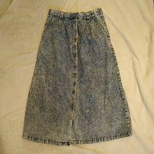 Vintage ACID WASH denim midi button down skirt